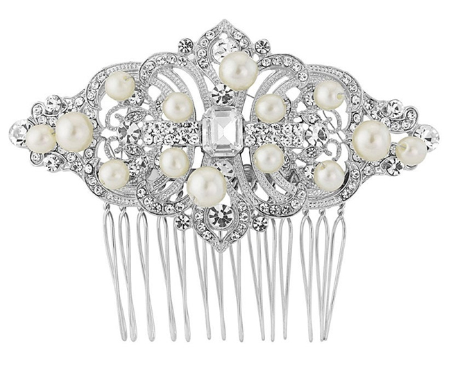 Art Deco wedding ideas. Art Deco Bridal Comb. Art Deco Fashion. What to wear for a Gatsby Theme Party. Vintage Theme wedding Ideas. Vintage Theme Bridal Comb. 1920's inspired hair combs.