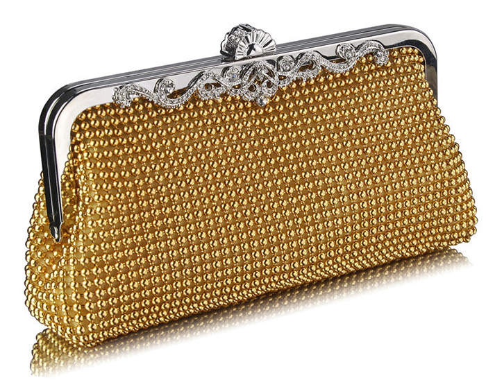 Gold Vintage Inspired Clutch Bag. 1920's Clutch Bags. 1920s Fashion. Gold Beaded Clutch Bags.