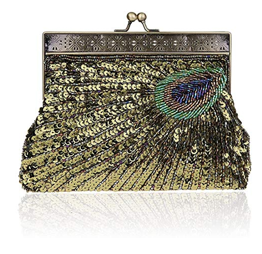 Peacock Sequin Bag. Bags for Vintage Theme wedding. Vintage Theme Bridal Bags. Art Deco Bags. What to wear for a Great Gatsby Theme Party. Peacock Handbags. What to wear for 1920s Theme Party.