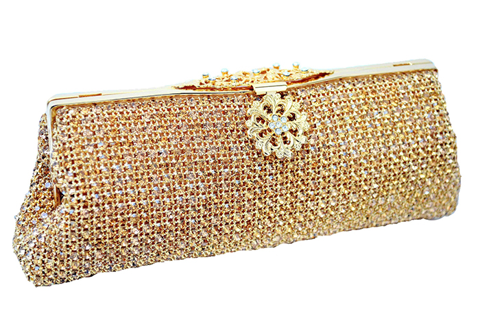 Swarovski Crystal Clutch Bags. Bags from the 1920s. Gold Art Deco Handbag. Handbags for a 1920s party. 1920's inspired handbags. Art Deco Fashion. What to wear for a Gatsby Theme Party 2019. What to wear for 1920s Theme Party. Short Flapper Dresses. Flapper Party Outfits.