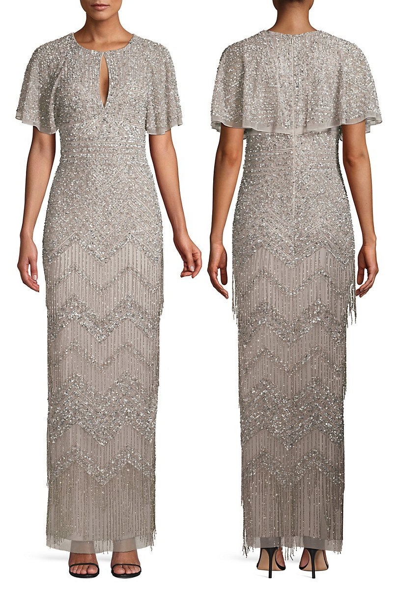 Long Dress with tassels. 1920s inspired tassels dress. Long Beaded Flapper Dress. Art Deco Dresses 2019. Art Deco Fashion. What to wear for a Gatsby Theme Christmas Party 2019. What to wear for 1920s Theme Party 2019. Long Vintage Beaded Dresses 2019. Aidan Mattox Dresses 2019. Beaded Flapper Girls Dress 2019.