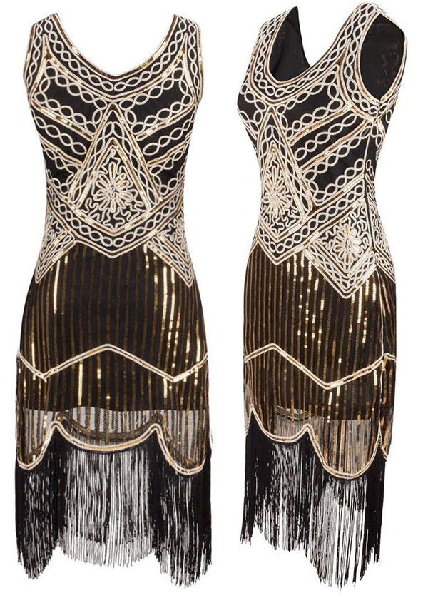 Black Cream and Gold Sequin Flapper Dress. Art Deco Fashion. What to wear for a Gatsby Theme Party. What to wear for 1920s Theme Party UK. Cheap Short Flapper Dresses UK. Best Cheap 1920s Flapper Dress UK. What to wear to a 1920s theme Party 2020. Low Price Flapper Dresses. Bargain Flapper Dresses. Sequin Flapper Dresses
