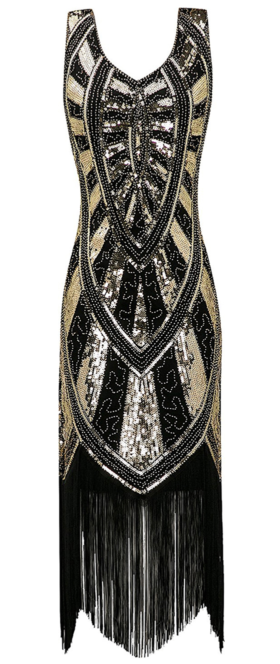 Black and Gold Sequin Flapper Dress. Art Deco Fashion. What to wear for a Gatsby Theme Party. What to wear for 1920s Theme Party. Short Flapper Dresses. Long Flapper Dress. Sequin Flapper Dresses