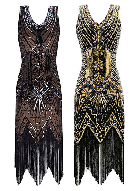 Black and Gold Flapper Dress. Flapper Dress with Tassels. Art Deco Fashion. What to wear for a Gatsby Theme Party. What to wear for 1920s Theme Party. Short Flapper Dresses. Sequin Flapper Dresses
