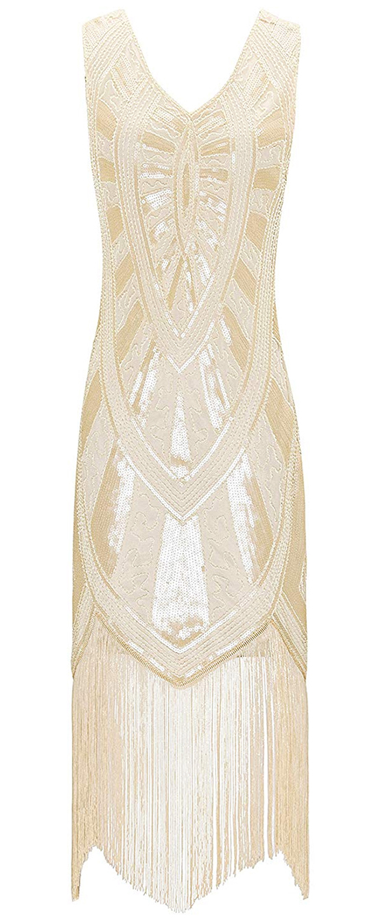 Cream Sequin Flapper Dress. Art Deco Fashion. What to wear for a Gatsby Theme Party. 1920s Theme Wedding. Vintage Theme Wedding. Gatsby Bridesmaids Dresses