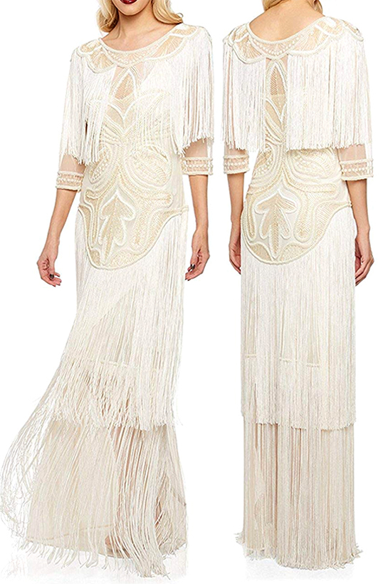 Cream Sequin Flapper Dress. Art Deco Fashion. Great Gatsby Halloween Outfits. What to wear for a Gatsby Theme Party. 1920s Theme Wedding. Gatsby Theme Wedding Dress. Gatsby Bridesmaids Dresses