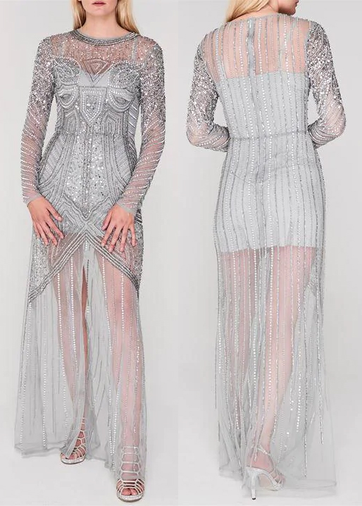 Frock and Frill Flapper Dress. Silver Flapper Dress. Art Deco Fashion. Great Gatsby Halloween Outfits 2019. What to wear for a Gatsby Theme Party 2019. 1920s New Years Eve Party Ideas. Downton Abbey Party Outfits