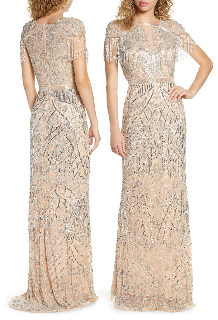 Long Beaded Art Deco Style Dress 2019. Art Deco Dresses. Art Deco Fashion. Luxury Evening Gowns 2019. What to wear for a Great Gatsby Theme Event. What to wear for 1920s Theme Birthday. Long Vintage Beaded Dresses. Art Deco Inspired Beaded Evening Dress