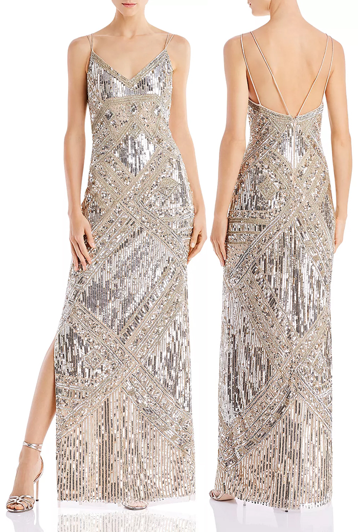 Silver Long Beaded 1920s style evening dresses. The Best vintage inspired Dresses. Best 1920s Dresses for New Years eve 2019. Long Great Gatsby Party Dresses 2019. New Years Eve Party Gowns. New Years eve 2020 Party Ideas. 1920s Ladies Fashion. Dress for a murder Mystery Party 2019. Flapper Dresses. Silver 1920's style dresses.