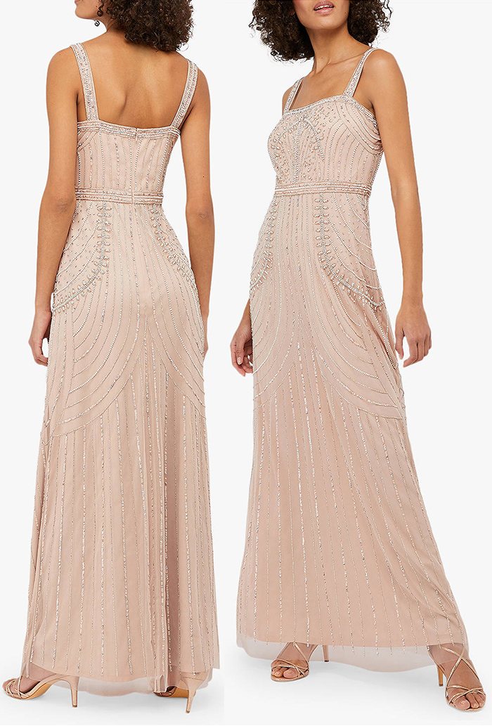 Blush Pink 1920s dress. The Art Deco Inspired Dresses. 1920s Theme Beaded Dress. Great Gatsby Party Dresses 2019. Find Flapper Dresses in the UK, New Years Eve Party Gowns. 1920s Ladies Fashion. Long Art Deco Period Dresses. Long 1920's Flapper Dresses 2019. What to wear to a 1920s theme party.
