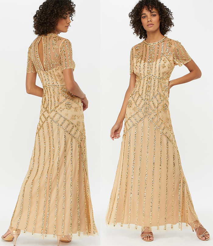 Gold Sequin Flapper Dress. What to wear for 1920s party UK, Art Deco Fashion. What to wear for a Gatsby Theme Party in UK. What to wear for 1920s Theme Party. Long 1920s Dresses. Long Flapper Dress. Sequin Flapper Dresses