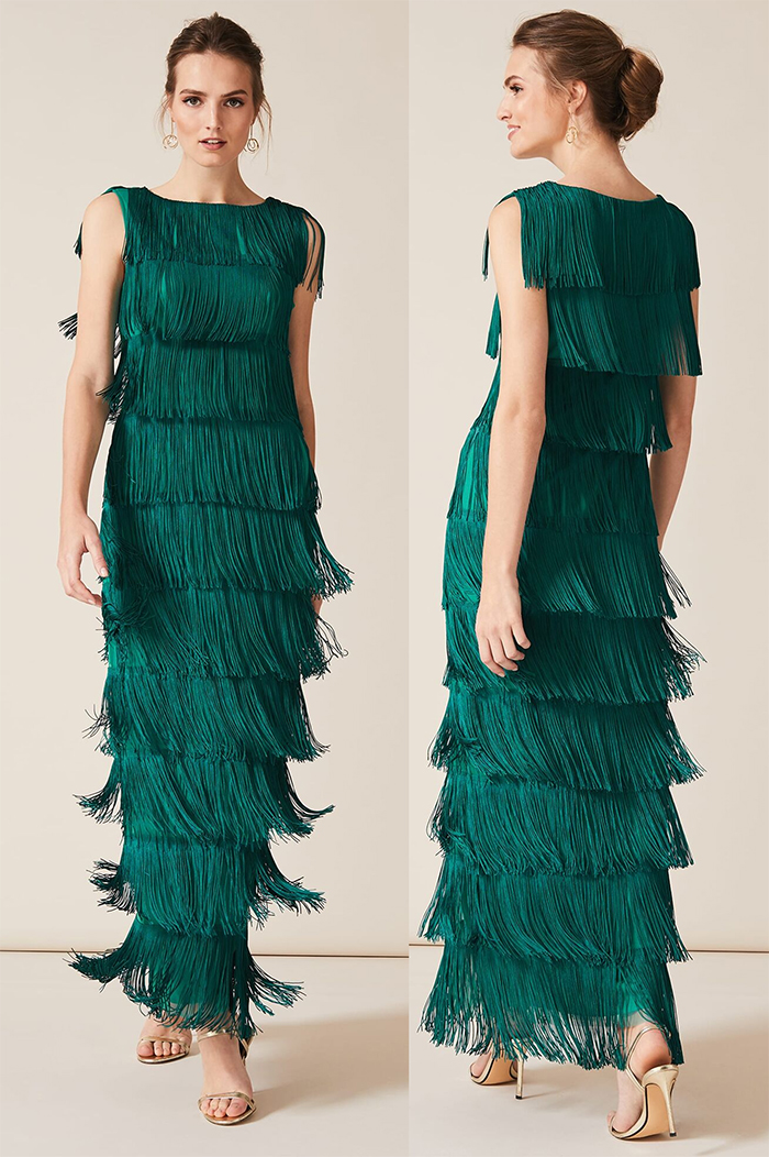 Phase Eight Long Fringe Dress. Art Deco Dresses. Emily Buchanan Dress. Green Great Gatsby Dress, 1920s Dress for Gatsby Fancy Dress. Vintage 1920's inspired Gatsby Party Outfits. 1920's Wedding Guest Outfits. 1920s Christmas Outfits 2019. Great Gatsby New Years Eve Party Outfits 2019. How to Wear 20's Fashion