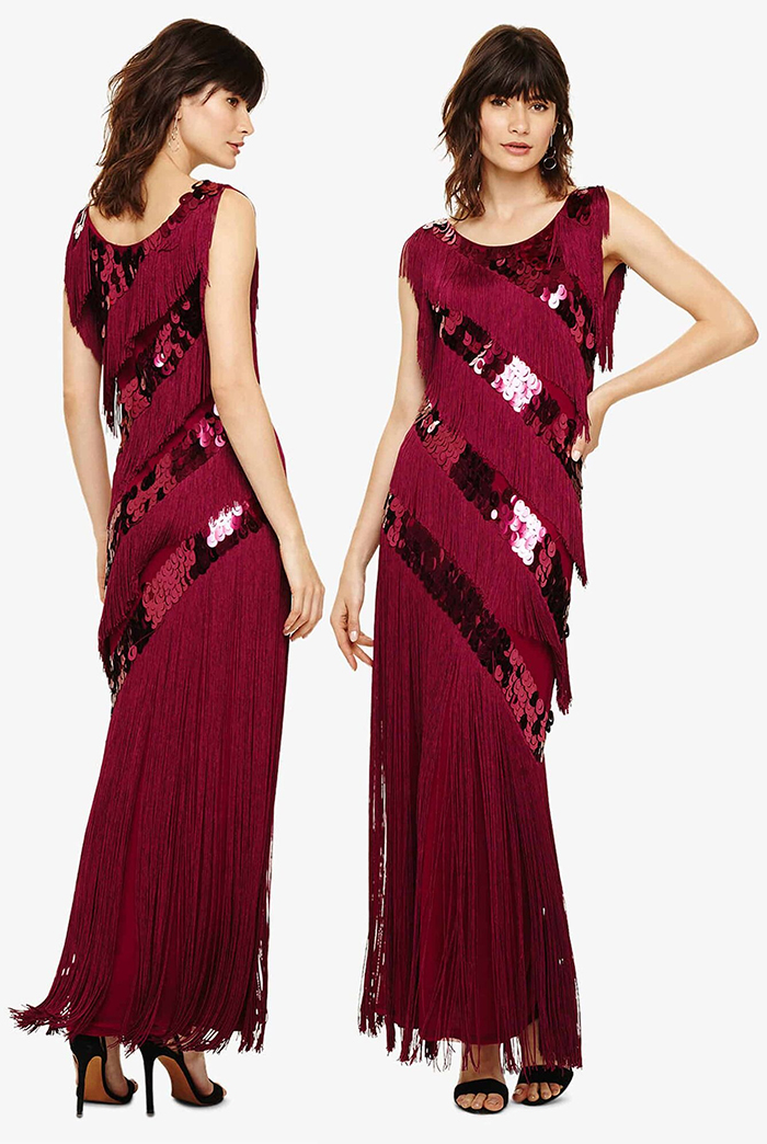 Phase Eight Fringe Dresses. Phase Eight Evening Dress. Great Gatsby Dress, 1920s Dress for Great Gatsby Party. Vintage 1920's inspired Outfits. 1920s Fashion Outfits. Red Art Deco Party Outfits. Downton Abbey Fashion. Gatsby New Years Eve Party Outfits. How to Wear 20's Fashion