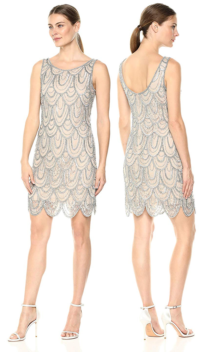 Pisarro Nights Short Flapper Dress 2019. Art Deco Dresses. Emily Buchanan Dress. Champagne Great Gatsby Dresses 2019, 1920s Dress for Gatsby Fancy Dress. Vintage 1920's inspired Gatsby Party Outfits. 1920's Wedding Guest Outfits. Art Deco Costume. Great Gatsby New Years Eve Party Outfits. How to Wear 20's Fashion