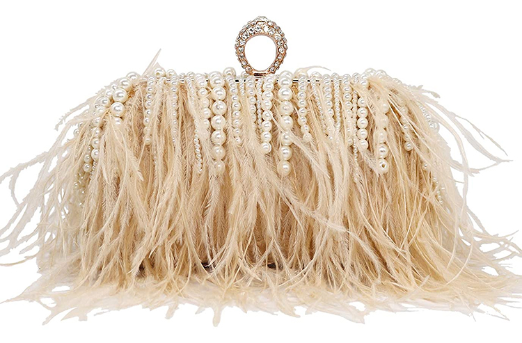 Champagne Colour Clutch Bag 2020. Champagne Mother of the Bride Outfits 2020. Champagne Mother of the Groom Outfits 2020. Feather embellished Mother of the Bride Clutch Bags. Mother of the Bride bags under £50.00. Embellished Clutch Bags under £50.00. Champagne Outfit ideas for Mother of the Bride 2020. Winter Wedding Mother of the Bride outfits 2020. Champagne Gold Mother of the Bride Bags 2020.