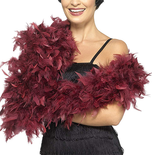 Feather Boas. Long Feather Boa for Gatsby Party Outfits. Gatsby Party Costume. Vintage 1920's inspired Gatsby Party Outfits. 1920's Wedding Guest Outfits. Flapper girls Outfits. What to wear to a 20's theme New Years Eve Party. Great Gatsby Halloween Party Costumes. Red Feather Boa