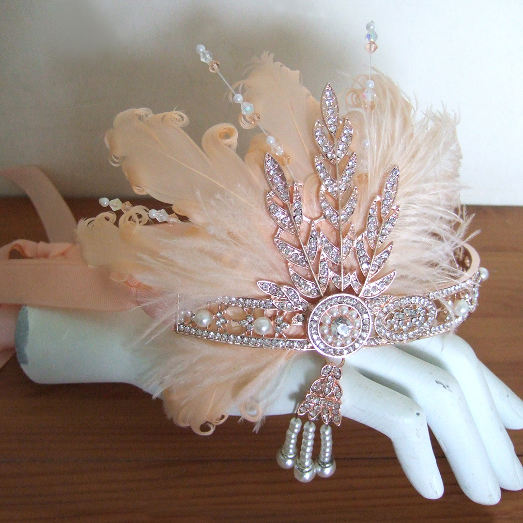 Rose Gold Flapper Girl Headbands. What to wear to a 20's Halloween Party. Vintage 1920's inspired Outfits. 1920's Costume. Flapper girls Outfits 2019. Headbands for a 20's theme New Years Eve Party 2020. Gatsby Halloween Party Outfits 2019. Best Flapper Headbands 2019. 1920 Fashion Ideas and Inspiration
