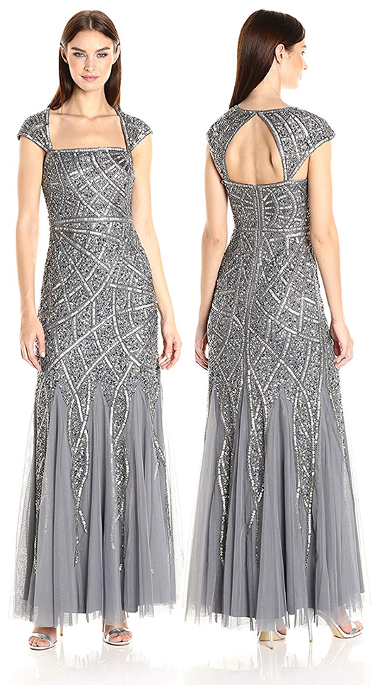 Silver Art Deco Dresses. Great Gatsby Dress, 1920s Dress for Great Gatsby Party. Vintage 1920's inspired Outfits. 1920s Fashion Outfits. Art Deco Party Outfits. Silver Gatsby New Years Eve Party Outfits. How to Wear 20's Fashion