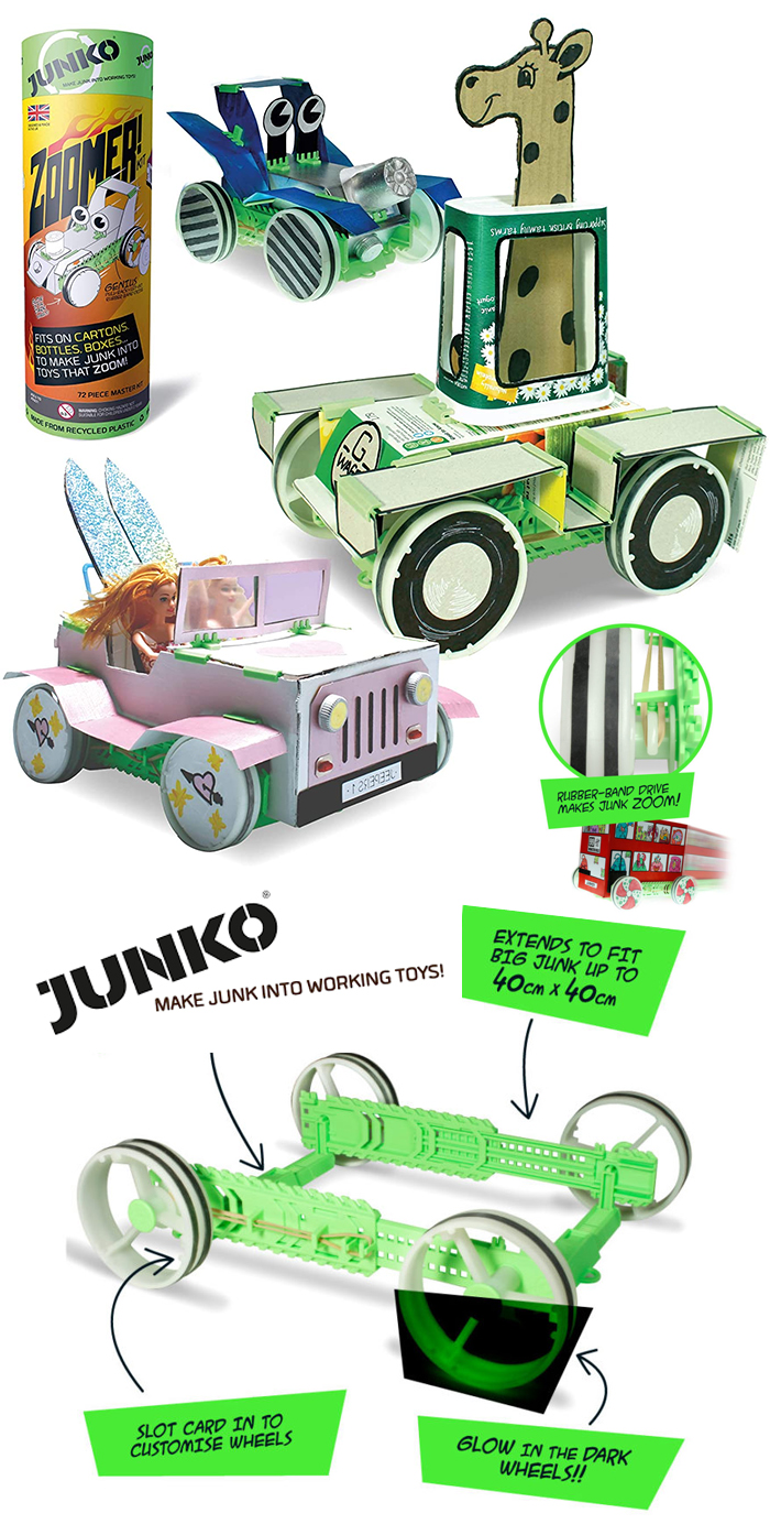 Best Toys for Christmas 2020. Junko Core Kit, as seen on Philip Schofield How to Spend it Well at Christmas. Best Gifts for Little Kids 2020. Top Christmas Gifts 2020. Creative Gifts for Christmas 2020. Kits to Make your own Toys from Junk. Junko turn Junk into Working Toys. Gifts for Boys 2020.
