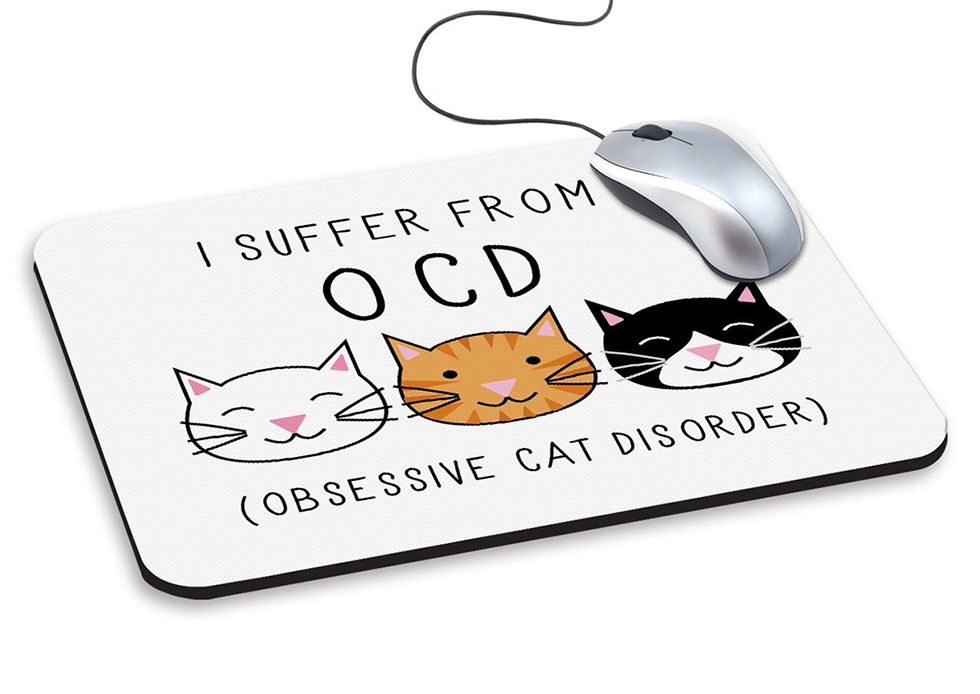 I have OCD Obsessive Cat Disorder Mouse Mat. Christmas Gifts for Cat Lover 2019. Gift ideas for Mum 2019. Funny Mouse Mat ideas 2019. Secret Santa for a Cat Lover 2019.