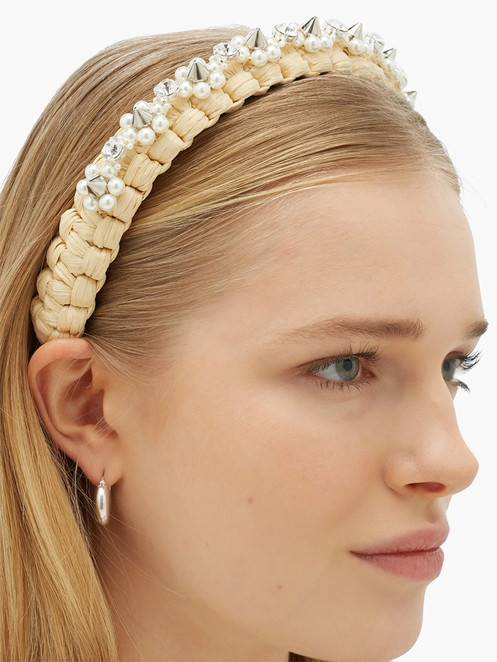 Simone Rocha Headbands 2020. Simone Rocha Embellished headbands 2020. Pearl Embellished Headband 2020. Luxury Embellished Headbands 2020. Summer Padded Headbands 2020. Summer Hair Accessories 2020. Best Embellished Headbands 2020. Oversize headbands trend Summer 2020.