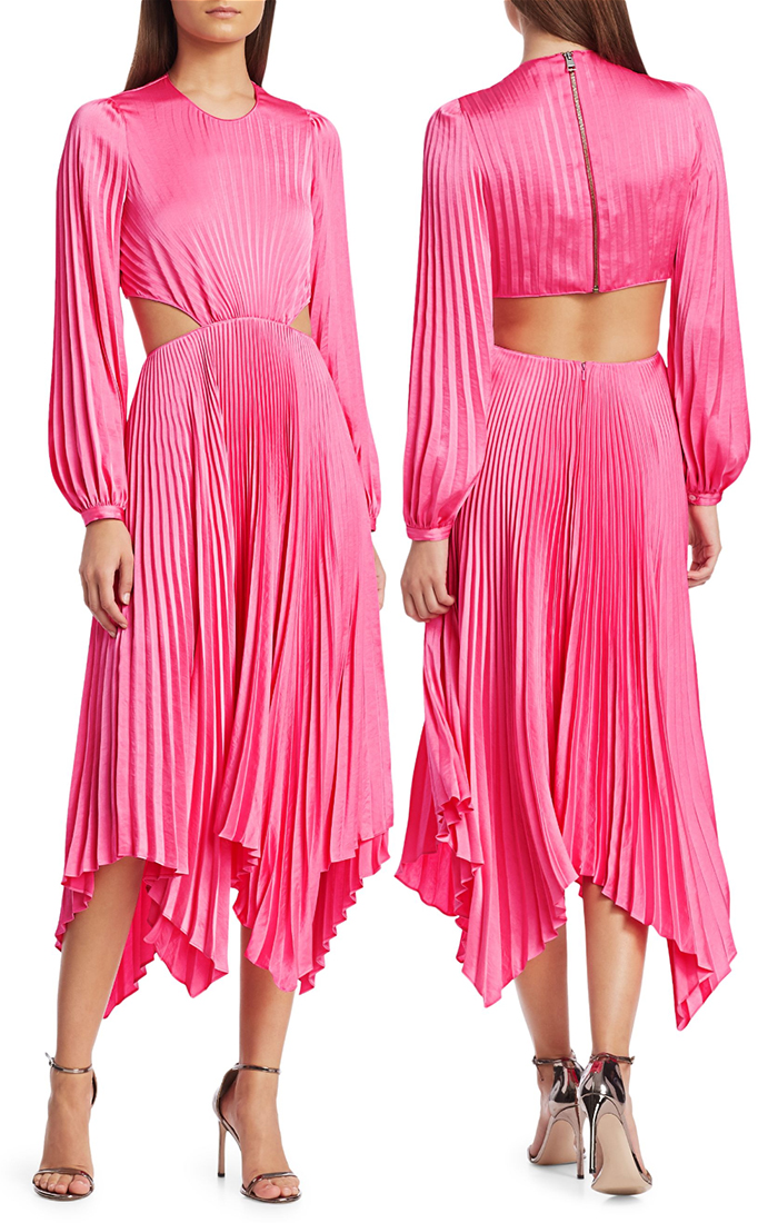 Pink Dress for the Kentucky Derby. Candy Pink Pleated Dress. Pleated Midi Dress. Dresses for Kentucky Derby 2020. What to wear for Kentucky Derby Party. Kentucky Derby Dress. Dress for a Spring wedding Guest.