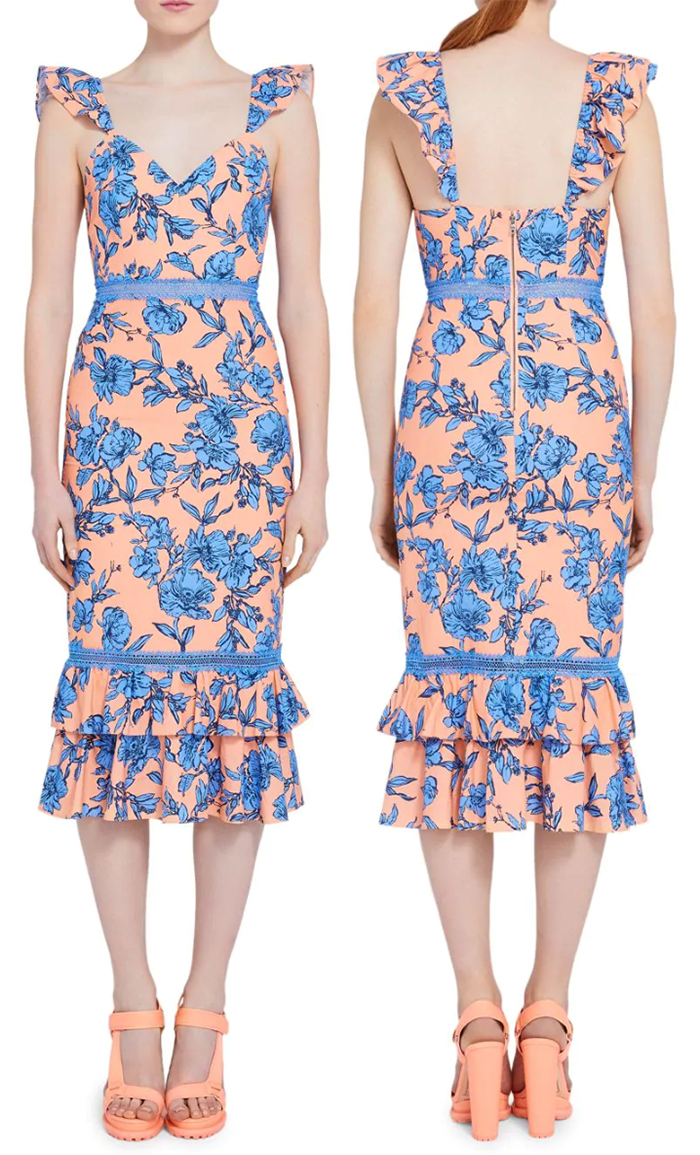 Peach Floral Dress 2020. Peach Dress for Kentucky Derby 2020. Pastel Dress for Kentucky Derby 2020. Blue Floral Dress for a Wedding Guest 2020. Kentucky Derby Day outfits 2020. What to wear to the Kentucky Derby 2020. Kentucky Derby Fashion 2020. Kentucky Derby Dresses 2020.
