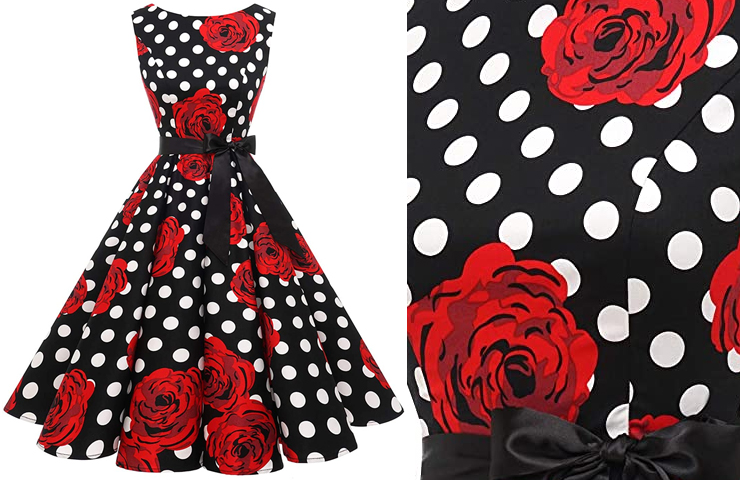 Red Roses Dress for the Kentucky Derby 2020. Red Roses Kentucky Derby Street Party ideas. Kentucky Derby Party Dress ideas 2020. Kentucky Derby Garden Party Dress 2020. Red Roses outfits a Kentucky Derby Party 2020