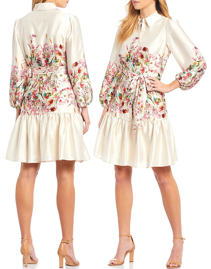 Antonio Melani Floral Shirt Dress for the Kentucky Derby 2021. Floral outfits for the Kentucky Derby 2021. Dresses for the Kentucky Derby 2021. What to wear for Oaks Day Kentucky 2021. Outfit ideas for the Races. What to wear for the Kentucky Derby in 2021. Kentucky Derby 2021 Outfits