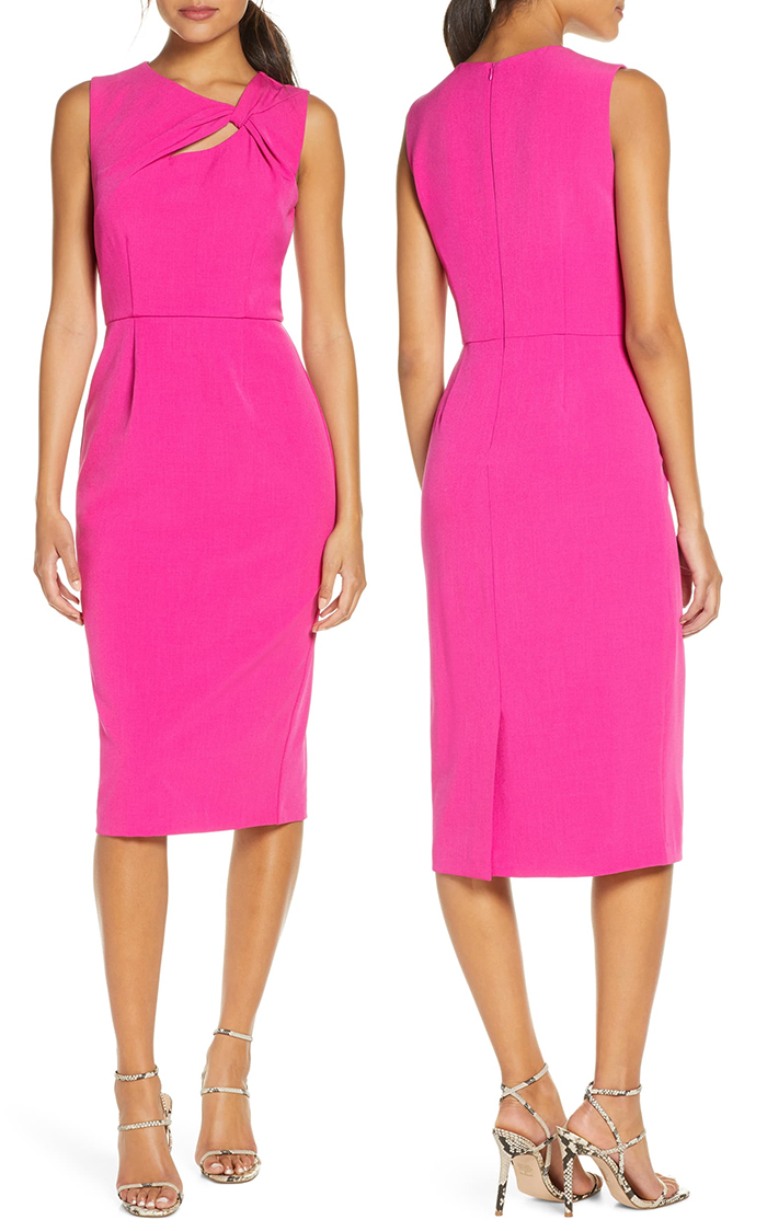 Bright Pink Fitted Dress. Hot Pink Dress 2020. Bright Pink Dress for the Kentucky Derby 2021. Dresses for the Kentucky Derby 2021. Best Kentucky Derby Dresses 2021. What to wear to the Kentucky Derby 2021. Racing Fashion.
