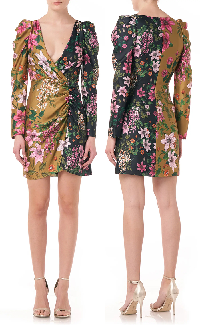 Monique Lhuillier Floral Mini Dress. Floral outfits for the Kentucky Derby 2021. Floral Dresses for the Kentucky Derby 2021. What to wear for the Kentucky Derby 2021. Outfit ideas for the Races 2021. Dresses for the Kentucky Derby 2021. Kentucky Derby Outfit inspiration 2021.