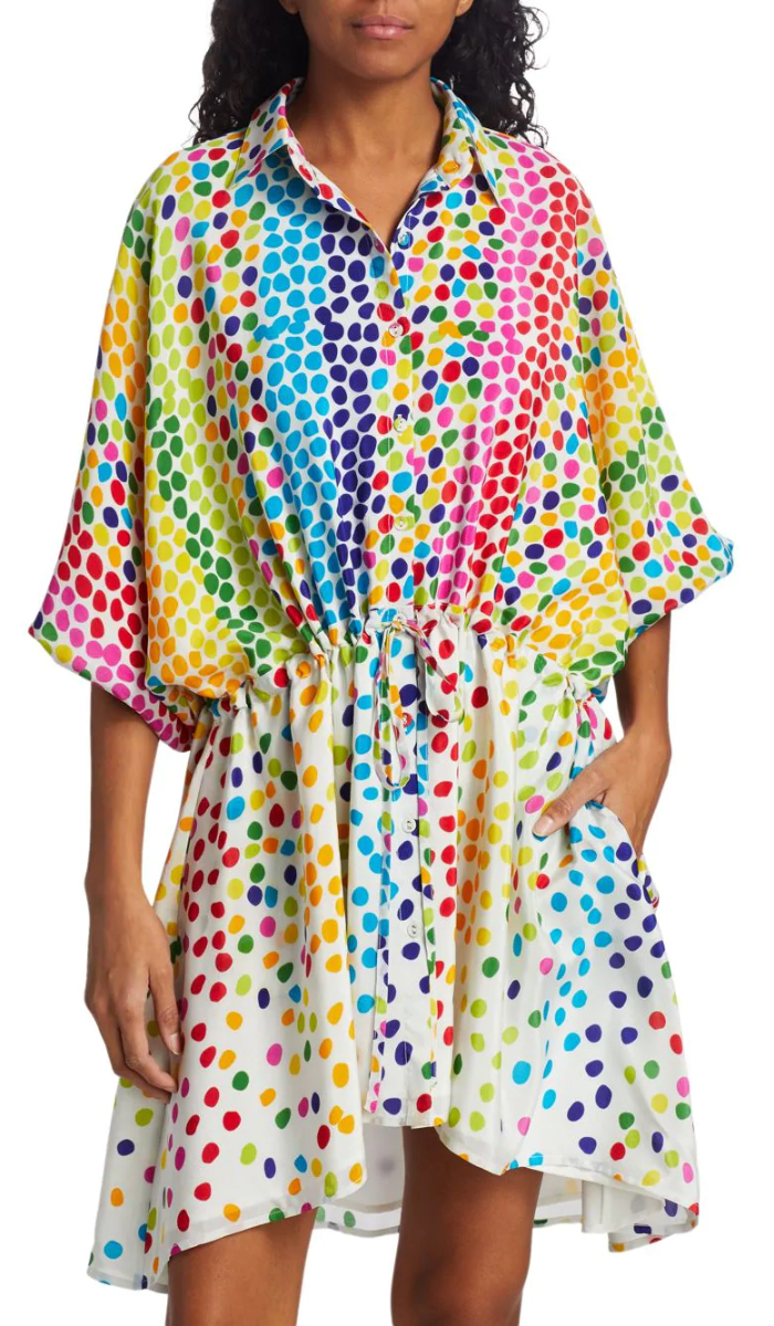 All Things Mochi Rainbow Mini Dress. Rainbow dress for Summer 2020. Rainbow Pattern Dress for the Kentucky Derby 2020. Polka Dot Dresses for Kentucky Derby 2020. Fun outfits for the Kentucky Derby 2020. What to wear for the Races 2020. Outfit ideas for the Races 2020. What to wear for the Kentucky Derby 2020. Kentucky Derby Outfits 2020