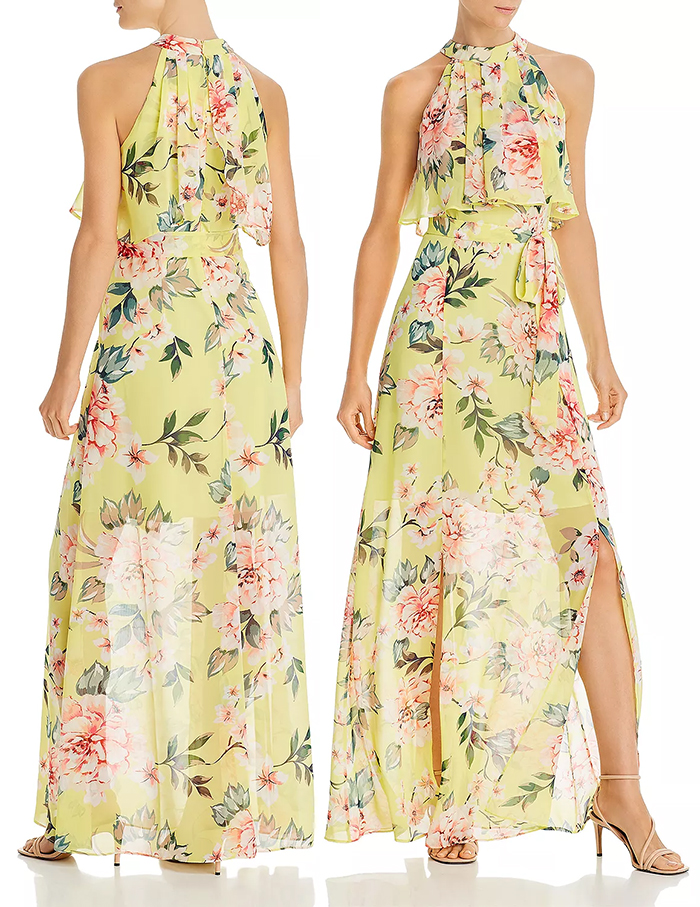 Long floral dress for a Summer Wedding 2020. What to wear for a Summer Wedding 2020. What to wear for the Kentucky Derby 2020. Pastel Floral Dress 2020. Kentucky Derby Dresses 2020. Boho Fashion. Dress for a Kentucky Derby Party 2020. Dresses for the Kentucky Derby 2020
