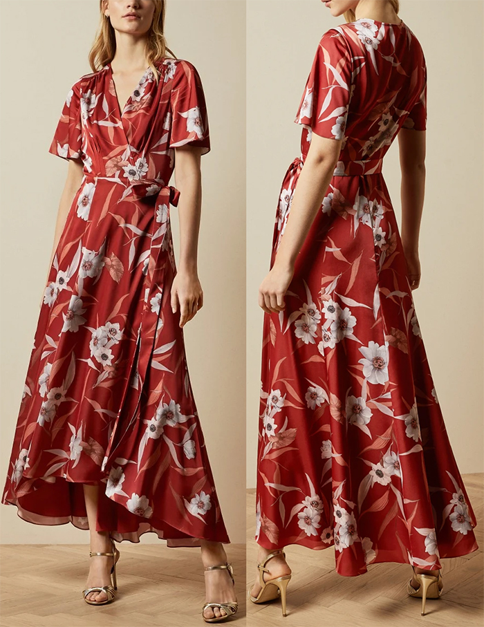 Long Floral Wrap Dress 2020. Floral outfits for the Kentucky Derby 2021. Floral Dress for the Kentucky Derby 2021. Ted Baker ERRIKA Floral Wrap Dress 2020. What to wear for the Kentucky Derby 2021. Outfit ideas for the Races 2021. Dresses for the Kentucky Derby 2021. Kentucky Derby Outfit inspiration 2021.