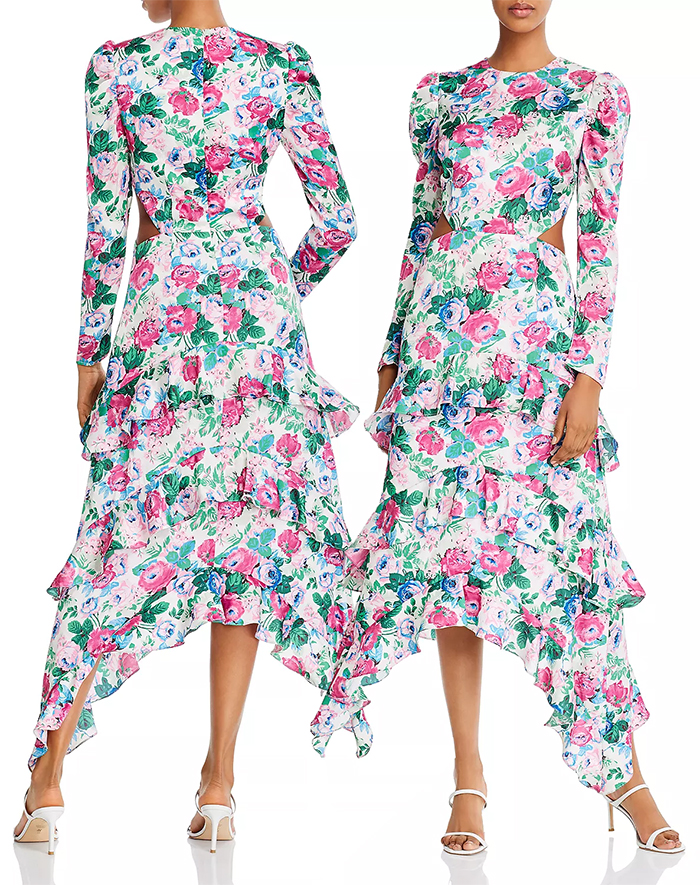 Floral Dress for the Kentucky Derby 2021. Floral Dress for Summer Weddings 2021. Midi Length Dress for the Kentucky Derby 2021. Dress with Flowers on. Pink Floral dress for the Kentucky Derby 2021. What to wear to the Kentucky Derby 2021. Summer Fashion 2021. Dip Hem Dresses for the Derby 2021