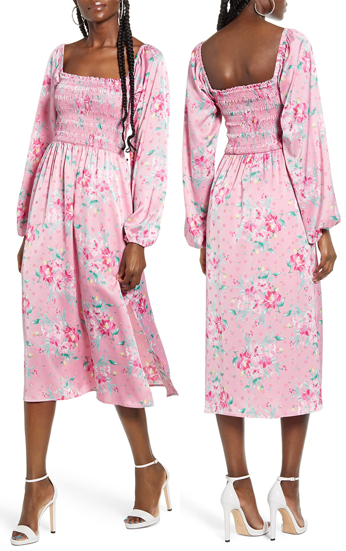 Flowing Pink Floral Midi Dress. Baby Pink Dress for Kentucky Derby 2021. Floral Pink Dress for the Kentucky Derby 2021. Dresses for the Kentucky Derby 2020. Best Kentucky Derby Dresses 2021. What to wear to the Kentucky Derby 2021. Racing Fashion.