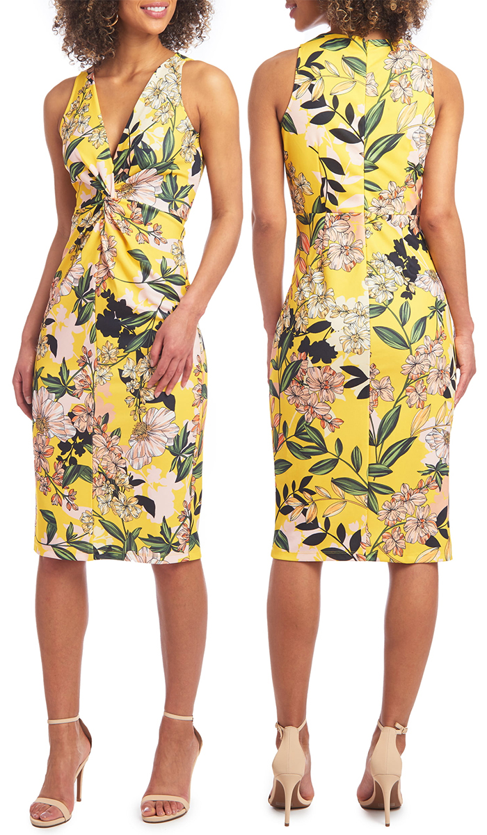 Bodycon Yellow Dress 2020. Kentucky Derby outfit ideas 2021. Floral Dress for Summer wedding Guest 2021. Kentucky Derby Dresses 2021.