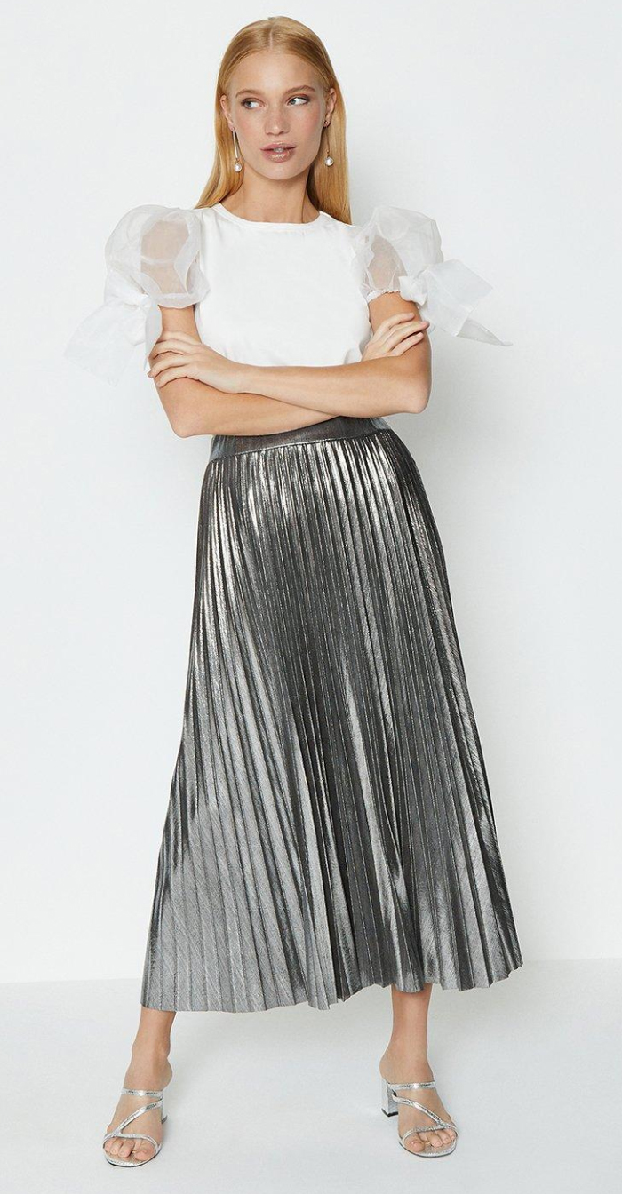 Coast Silver Pleated Skirt 2020. Silver Pleated Midi Skirt 2020. Best Metallic pleated Skirts 2020. Winter Wedding Guest outfit ideas 2020. Long Pleated Maxi Skirt 2020.
