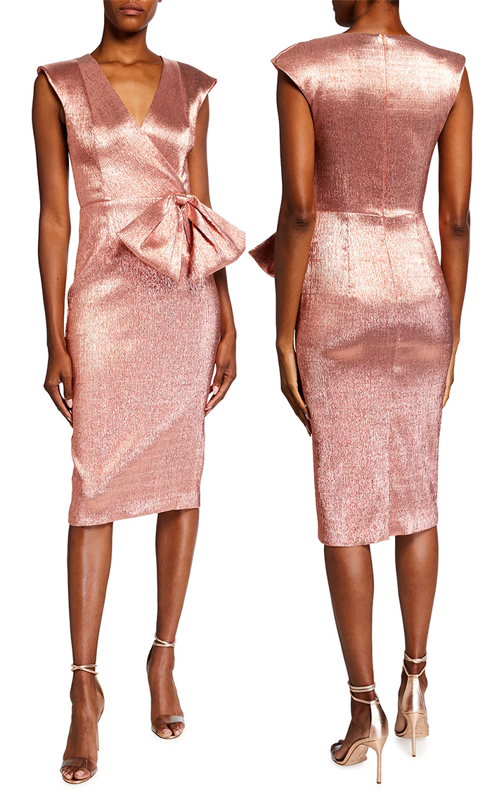 Rose Gold Sheath Dress. Metallic Sheath Dress. Rose Gold Mother of the Bride Dress. Rose Gold Mother of the Bride outfits. Metallic Fashion. Winter Wedding Mother of the Bride Dress 2021. How to wear Rose Gold 2021. Outfits in Rose Gold 2021. Rose Gold Dress.