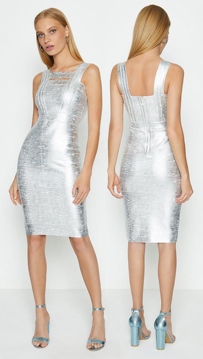 Silver bodycon bandage dress 2020. High Shine Bandage Dress 2020. Silver Bodycon Dress 2020. How to wear Silver 2020. How to wear Metallics 2020. Fall Fashion 2020. Silver party dress 2020. Dresses for the Festive season 2020. Christmas Party Dress 2020. Autumn Winter Outfit ideas 2020.