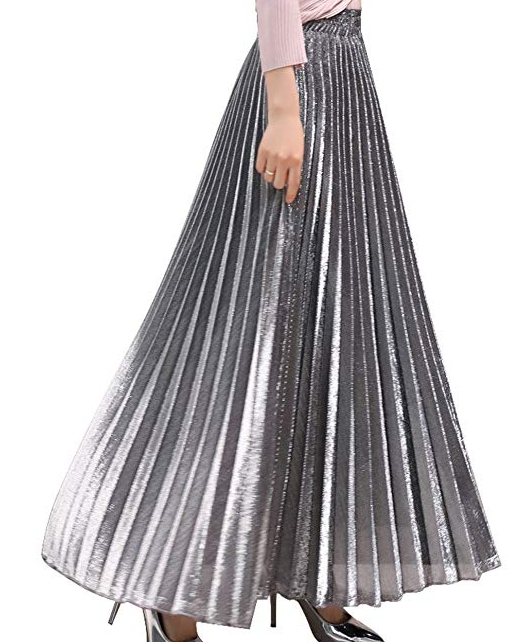Silver Metallic Pleated Skirt 2020. Pleated Maxi Skirt 2020. What to wear for winter weddings 2020. How to wear silver 2020. Metallic Fashion. On Trend skirts