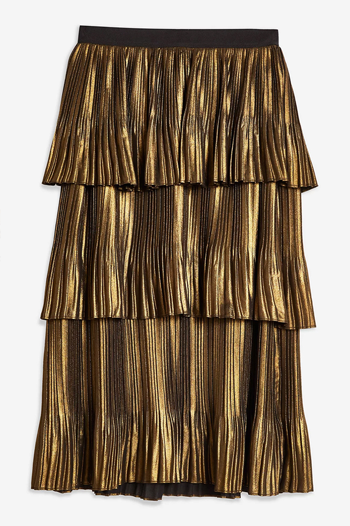Gold Pleated Skirts, Metallic Pleated Skirt, Wedding Guest outfits for winter weddings, Wedding Guest outfits when it's cold. Christmas Wedding Guest outfits.
