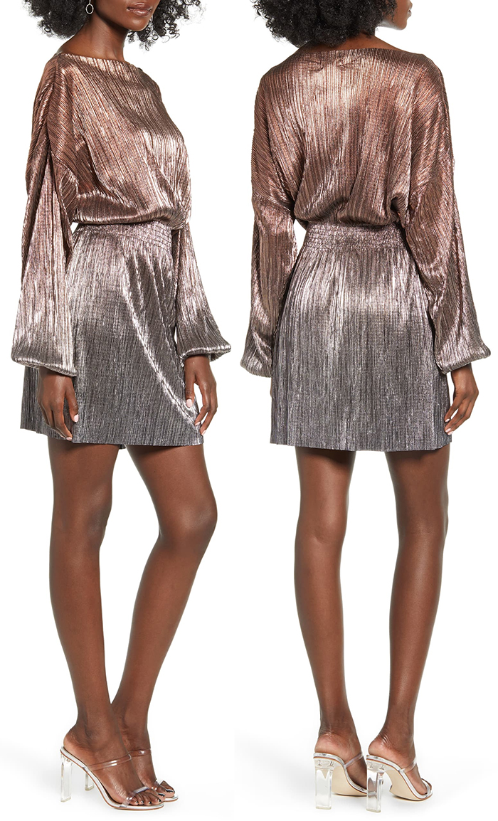 Topshop Metallic Plissé Minidress. Topshop Ombre Dress. Silver Mini Dress. What to wear with a Silver Dress. Christmas party Dress 2019. Dress for New Years Eve.