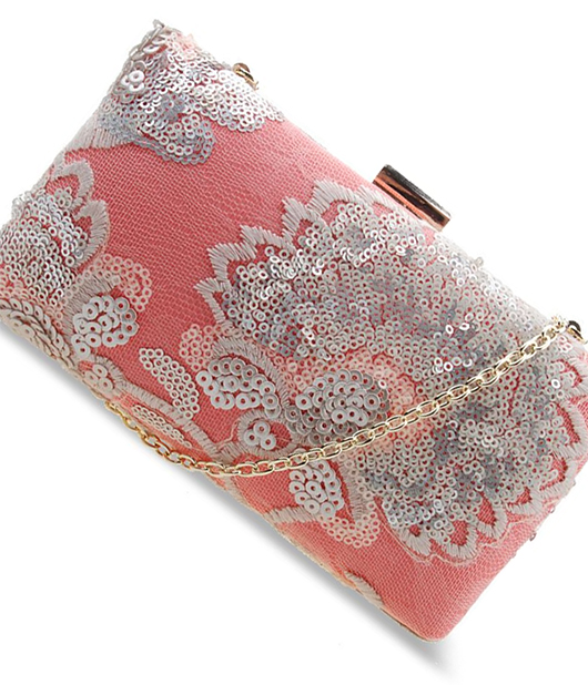 Coral Lace Clutch Bag. What to wear for the Kentucky Derby Oaks Day. Coral Clutch Bags. Summer Fashion. Lace Outfit inspiration