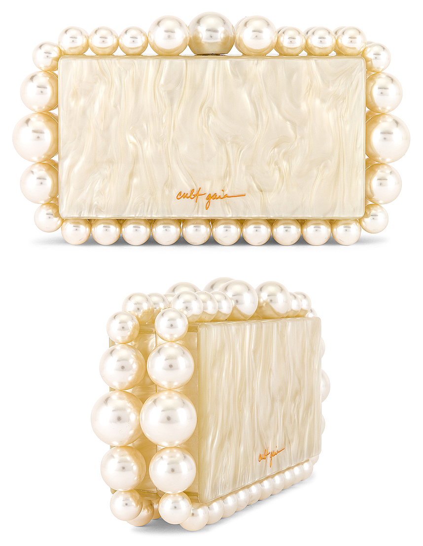 Cult Gaia Pearl Clutch Bag. Cult Gaia Eos Clutch Bag. Best Pearl Clutch Bag. Clutch Bag for Winter Weddings 2020. Bags for a Winter Wedding Mother of the Bride 2020. Spring Wedding Mother of the Bride Clutch Bag 2021. Bridal Clutch Bags 2020.
