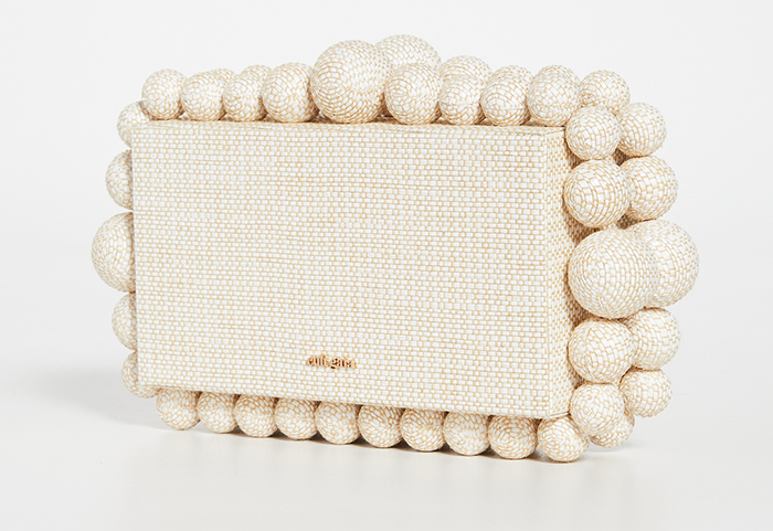 Cult Gaia Bags 2020. Nude Colour Mother of the Bride Clutch Bag 2020. Best Nude Clutch Bags 2020. Raffia Clutch Bag for Weddings 2020. Bags for a Autumn Wedding Mother of the Bride 2020. Outfit ideas for wedding Guests 2020.