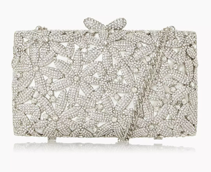 Floral Crystal Clutch Bag 2020. Crystal Mother of the Bride bags 2020. Best Mother of the Bride bags 2020. Silver Mother of the Bride Clutch Bag 2020. Clutch Bag for Summer Weddings 2020. Clutch Bags for a Summer Wedding Guest 2020.