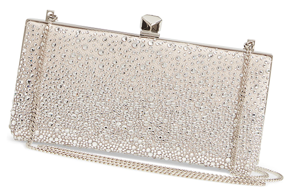 Jimmy Choo Crystal Clutch Bag. Silver and Ivory Mother of the Bride Outfits. Crystal  Mother of the Bride Bags. Bags for Royal Ascot, Kentucky Derby Outfits, Racing and Wedding Fashions, Mother of the Bride Bags. What to wear to a Fall Wedding.
