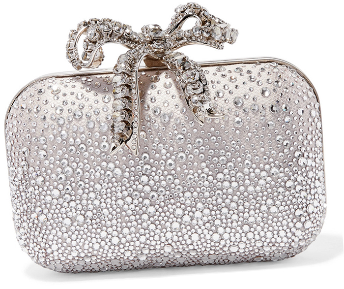 Jimmy Choo Crystal Bow Cloud Clutch Bag 2020. Silver Mother of the Bride Outfits 2020. Silver Mother of the Bride Bags 2020. Bags for winter weddings, Winter Mother of the Bride Outfits 2020. Mother of the Bride Bags 2020. What to wear to a Winter Wedding 2020.
