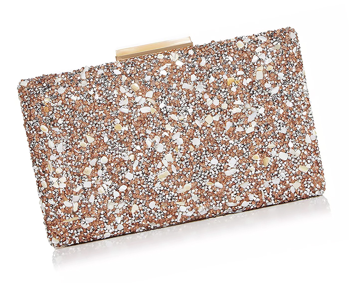 Beaded Mother of the Bride Clutch Bag USA. Bridal Handbags USA. Mother of the Bride Outfits 2020. What to wear as Mother of the Bride 2020. Wedding Guest Outfits. Rose Gold Mother of the Bride Bags 2020.